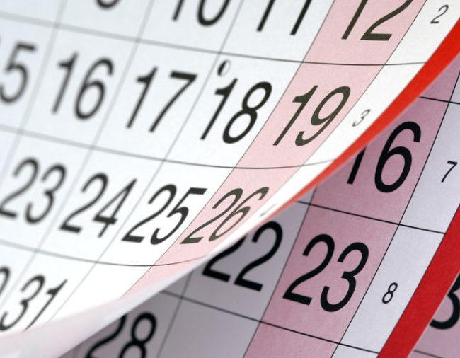 Calendario de días inhábiles para 2018