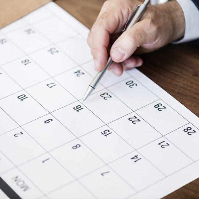 Calendario de días inhábiles